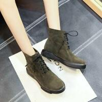 Women's Lace Up Ankle Boots Fashion Round Toe Casual Suede High Top Flats Shoes