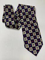 Mondo Uomo Men's necktie Tie silk made in Italy butterflies blue red