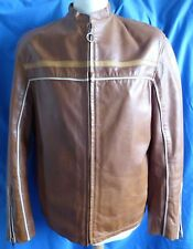 River Island Men's Tan Brown Real Leather Zip Jacket Contrast Piping Medium