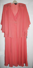 SL Fashions 3140 Womens Peach Chiffon Beaded Dress With Jacket 12 NWT
