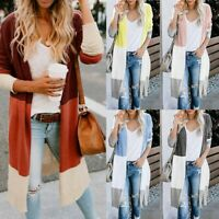 Women  Patchwork Sweater Knitted Cardigan Outwear Long Sleeve Loose Jacket Coat