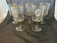 Set of 5 Vintage Apostle Etched Clear Crystal Wine Goblets Glasses Stem Ware