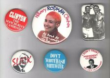6 Satirical  1990s Anti Bill + HILLARY CLINTON pin Comic pinback button