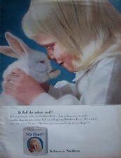 1964 Northern Bath Tissue Girl & White Rabbit Ad