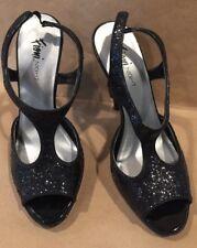FIONI NIGHT BLACK STILETTO SANDALS Ladies Shoes Size 6 Black Glitter Heels