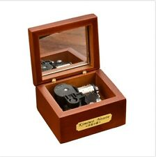 18 Note Wind-up Wooden Music Box with Mirror ♫ Auld Lang Syne ♫