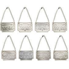 8Pcs Liquor Decanter Tags Labels Silver Copper Adjustable Chain Mettalic Brandy