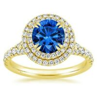1.65 Ct Round Real Sapphire Diamond Engagement Ring 14K Yellow Gold Size 7 8