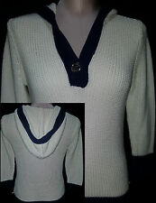 RALPH LAUREN Womens V-Neck Hoodie Pullover Knit Sweater White & Blue Sz Small