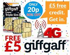Giffgaff SIM GIFGAF 20P 3 in 1 Nano/Micro/Standard FREE £5 Credit FREE CALLS