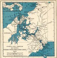 1921 Antique PANAMA CANAL Map Gallery Wall Art Original Map Of Panama Canal 8011