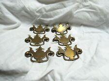 Antique Vintage Set 6 Chippendale Brass Drawer Handle Pulls