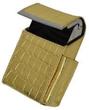 Gold Croc Crocodile Cigarette Hard Case Leather Flip Top Lighter Holder Unisex