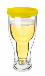 Beer Lager Tumbler Insulated Double Wall Acrylic Yellow Drink Cup w/ Lid 14oz