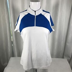 Footjoy Raglan Polo Zipper Shirt Women's Small White Royal Blue NWT