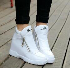 Womens leather Platform Wedge Zip Trainers Sneakers High Top Sneakers shoes