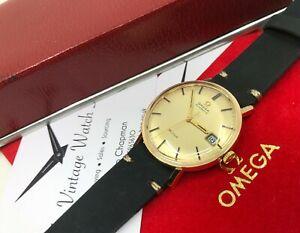 Vintage 18k 18ct Gold Omega De Ville Mens Automatic Watch SERVICED + Box 1970