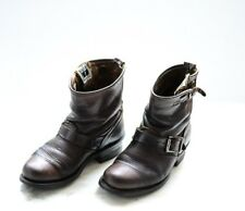 FRYE VERONICA SHORT BROWN LEATHER PULL ON ANKLE BOOTS WOMEN'S SIZE 6-B