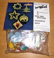 Vintage Merri Mac Tiny Tree Treasures in Wood Supplies for 5 Ornament Kit 1977