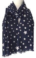 Navy Star Scarf Ladies White Stars Cotton Wrap Dark Blue Fair Trade Shawl