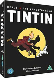 The ADVENTURES OF TINTIN COMPLETE 21 ADVENTURES ON 5 DISCS  REMASTERED  REGION 2