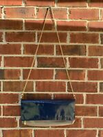 Steve Madden Shoulder Bag Blue Gray Patent Leather Handbag Gold Chain Purse