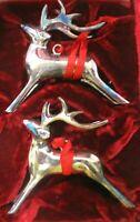 Vtg Pottery Barn Silver Plated Reindeer Christmas Ornament Figurines Velvet Box