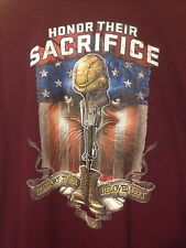 Soldier Support T Shirt Large Honor Their Sacrifice Eagle KIA MIA