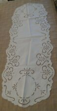 """Vtg Collectible White Fine Cotton Table Runner Hand Embroidered Cutwork 47"""" long"""