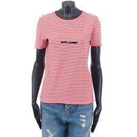 SAINT LAURENT PARIS 490$ Authentic New Red & White Striped Cotton Logo Tshirt