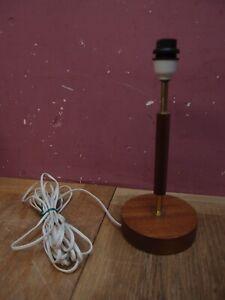 VINTAGE RETRO G PLAN STYLE TABLE LAMP BASE TEAK WOOD & BRASS DESIGN