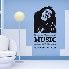 One Good Thing About Music Bob Marley No Pain Decal Wall Quotes Sticker Words