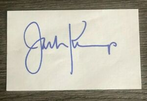JACK KEMP Autographed 3x5 index card cut w/ COA frame with picture Buffalo Bills