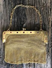 18K GOLD MESH PURSE with CHAIN=DIAMONDS & RUBIES=TESTED=EDWARDIAN?=VICTORIAN!!!!