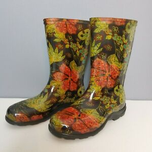 Sloggers Women Garden Rain Boots Size 6 Midsummer Black