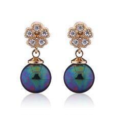 Bridal jewelry ! Swarovski crystal 18k gold filled Black Pearl dangle earring
