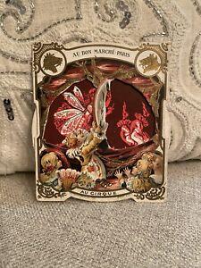 Antique Victorian Au Bon Marche Paris Circus Clown Fairy Mechanical Trade Card