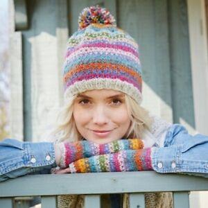 Pachamama 100% Wool Villarica Bobble Hat Multi-Coloured Hearts & Stripes
