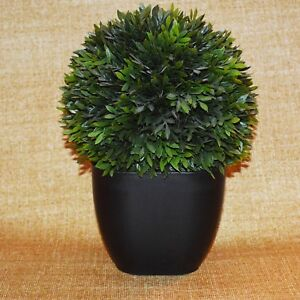 """11"""" Tall Green Artificial Topiary Boxwood Ball in Plastic Black Pot - Allstate"""