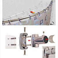 110cm - 200cm Extendable Curved Shower Curtain Rail Chrome Telescopic Bath Pole