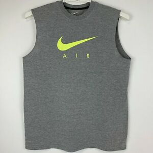 Nike Air Swoosh Logo Large Sleeveless T Shirt Gray Regular Fit Spell Out Tee