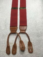 BROOKS BROTHERS MENS SUSPENDERS ALL SILK BUTTON ONS SOLID RED NWOT
