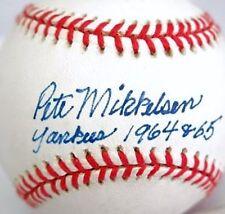 PETE MIKKELSEN (D.2006) NEW YORK YANKEES 1964-65 SIGNED OAL BASEBALL JSA