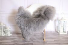 Genuine Natural Gray Brown Icelandic Sheepskin Rug long fur #ISLSH11
