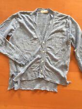 Women's Blue Hi Lo 100% Linen Cardigan Size S Naru Japanese EUC