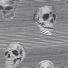 Alexander Henry Gothic Between the Lines Skulls Black & White Stripe Fabric - FQ