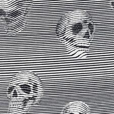 Alexander Henry Gothic Between the Lines Skulls Black & White Stripe Fabric - FQ