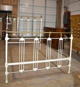 Antique White Painted Iron & Brass Full Size Bed