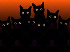 PAINTING EIGHT BLACK CAT SILHOUETTES ART PRINT POSTER MP5354A