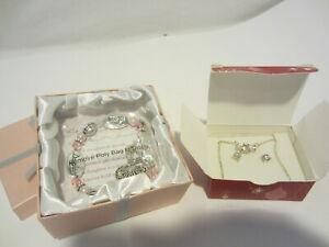AVON Triple cz child girl daughter necklace earrings set bracelet NEW